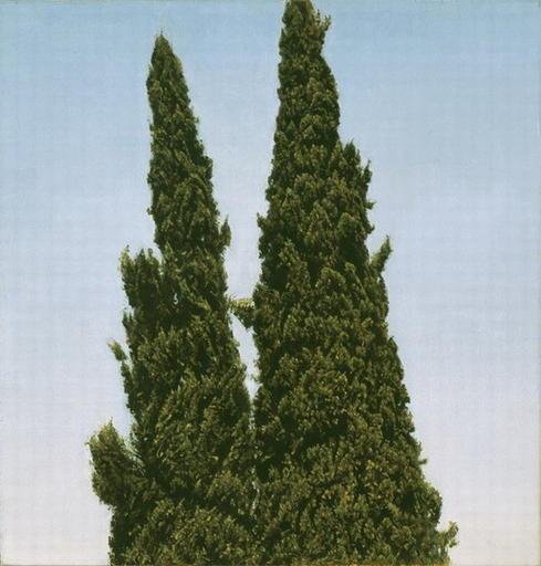 ברושים, דיוקן כפול ברחביה, 2001, שמן על בד מודבק על עץ / ישראל הרשברג
